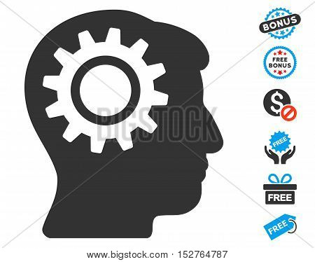 Intellect Gear icon with free bonus pictograph collection. Vector illustration style is flat iconic symbols, blue and gray colors, white background.