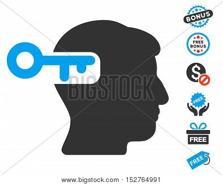 Intellect Key pictograph with free bonus pictograph collection. Vector illustration style is flat iconic symbols, blue and gray colors, white background.