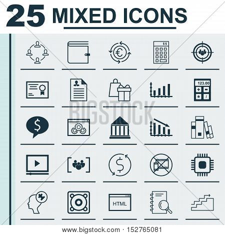 Set Of 25 Universal Editable Icons For Human Resources, Advertising And Project Management Topics. I