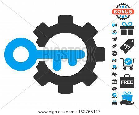 Key Options icon with free bonus design elements. Vector illustration style is flat iconic symbols, blue and gray colors, white background.