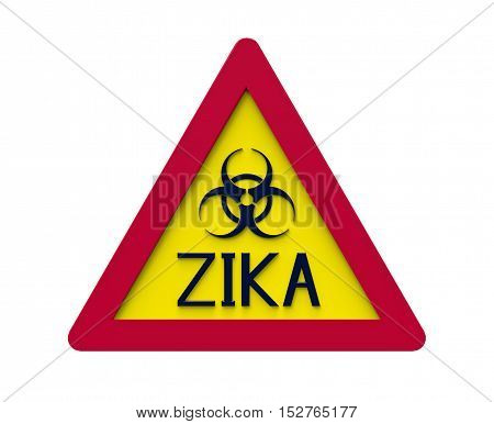 Zika biohazard sign isolated on white 3d rendering