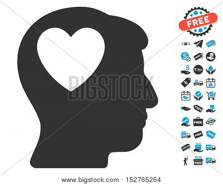 Love Heart Think icon with free bonus pictograph collection. Vector illustration style is flat iconic symbols, blue and gray colors, white background.