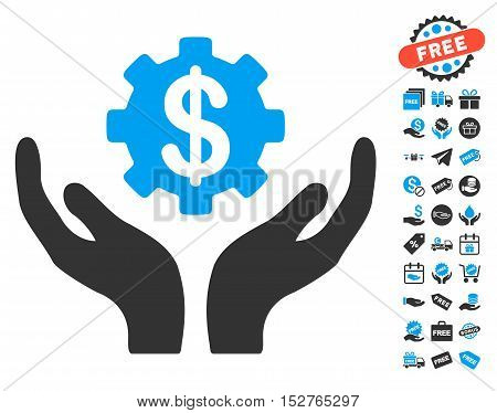 Maintenance Price icon with free bonus clip art. Vector illustration style is flat iconic symbols, blue and gray colors, white background.