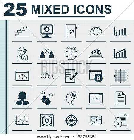 Set Of 25 Universal Editable Icons For School, Human Resources And Business Management Topics. Inclu