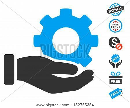 Mechanic Gear Service Hand icon with free bonus symbols. Vector illustration style is flat iconic symbols, blue and gray colors, white background.
