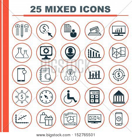 Set Of 25 Universal Editable Icons For School, Computer Hardware And Management Topics. Includes Ico