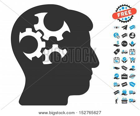 Mind Gears pictograph with free bonus pictures. Vector illustration style is flat iconic symbols, blue and gray colors, white background.