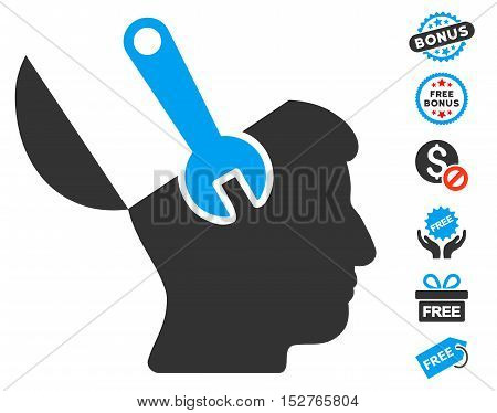 Mind Wrench Surgery icon with free bonus images. Vector illustration style is flat iconic symbols, blue and gray colors, white background.