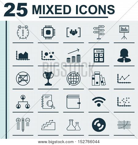 Set Of 25 Universal Editable Icons For Management, Hr And Computer Hardware Topics. Includes Icons S
