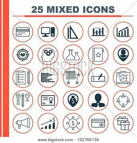 Set Of 25 Universal Editable Icons For Hr, Travel And Advertising Topics. Includes Icons Such As Ann