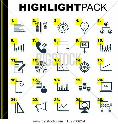 Set Of 25 Universal Editable Icons For Marketing, Project Management And Advertising Topics. Include