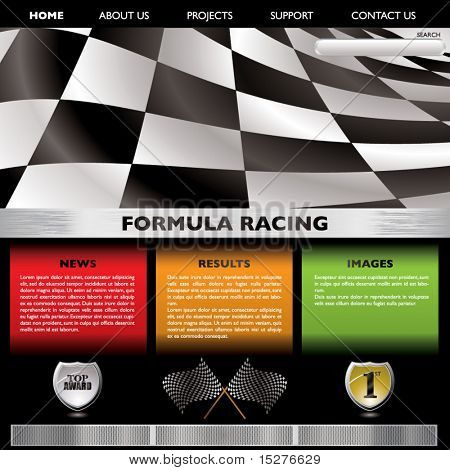 Motor racing concept web page with room to add your own text