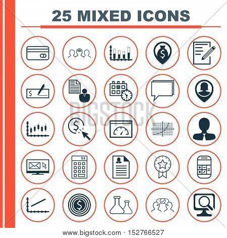 Set Of 25 Universal Editable Icons For Seo, Business Management And Traveling Topics. Includes Icons
