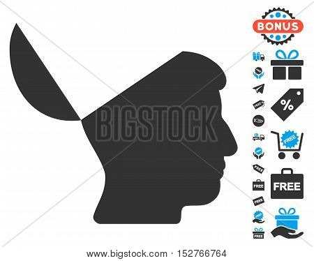 Open Mind icon with free bonus icon set. Vector illustration style is flat iconic symbols, blue and gray colors, white background.