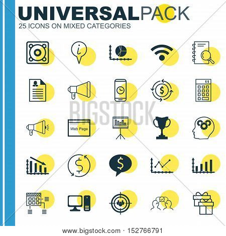 Set Of 25 Universal Editable Icons For Management, Seo And Marketing Topics. Includes Icons Such As