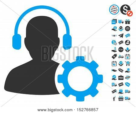 Operator Configuration Gear icon with free bonus images. Vector illustration style is flat iconic symbols, blue and gray colors, white background.