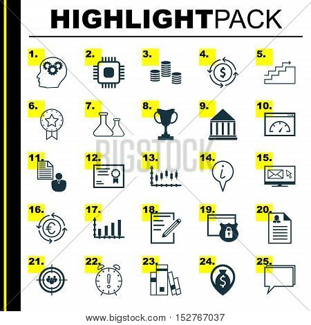 Set Of 25 Universal Editable Icons For Statistics, Project Management And Seo Topics. Includes Icons