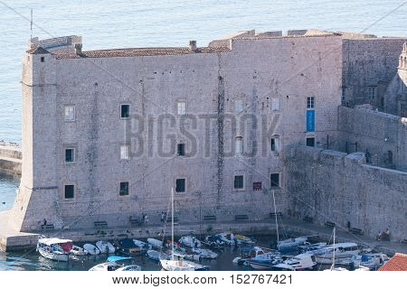 fortress of St. Ivan and the marina in the old Dubrovnik, Croatia.