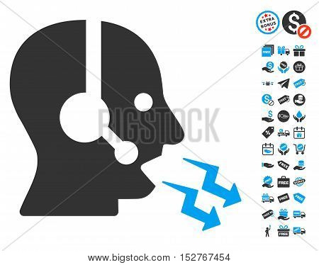 Operator Shout pictograph with free bonus pictograph collection. Vector illustration style is flat iconic symbols, blue and gray colors, white background.
