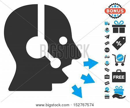 Operator Speak pictograph with free bonus pictograms. Vector illustration style is flat iconic symbols, blue and gray colors, white background.