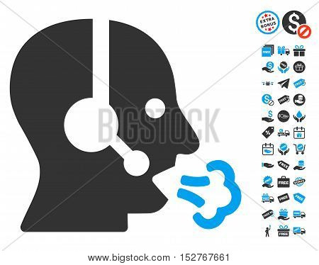 Operator Speech pictograph with free bonus pictograph collection. Vector illustration style is flat iconic symbols, blue and gray colors, white background.