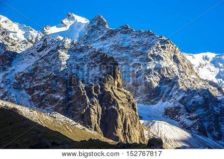 mountain landscape, wild nature, beautiful place, blue sky, rocks