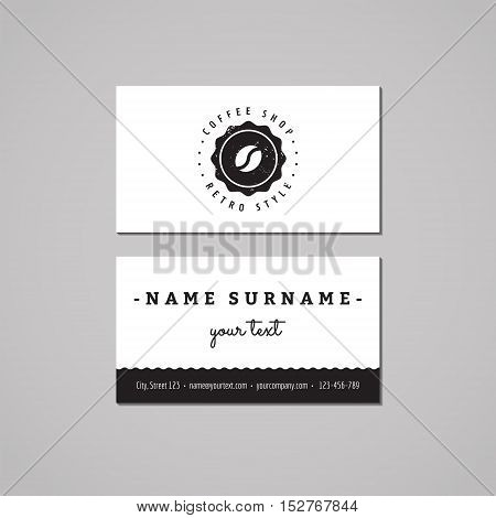 Coffee shop business card design concept. Logo with coffee bean and label. Vintage hipster and retro style.