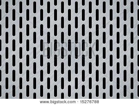 Brushed metal background with oblong holes and textured effect
