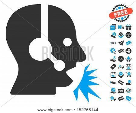 Operator Speech icon with free bonus images. Vector illustration style is flat iconic symbols, blue and gray colors, white background.