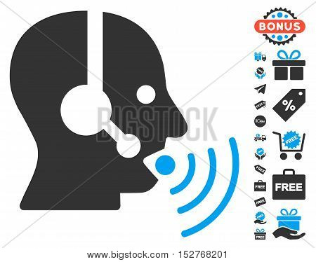 Operator Talking Sound Waves pictograph with free bonus images. Vector illustration style is flat iconic symbols, blue and gray colors, white background.
