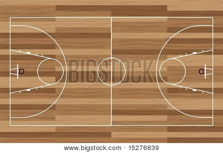 basketball court outline with wooden floor of gymnasium