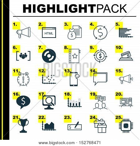 Set Of 25 Universal Editable Icons For Statistics, Tourism And Seo Topics. Includes Icons Such As Mo