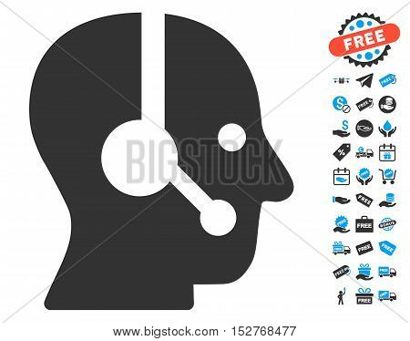 Operator pictograph with free bonus pictograms. Vector illustration style is flat iconic symbols, blue and gray colors, white background.