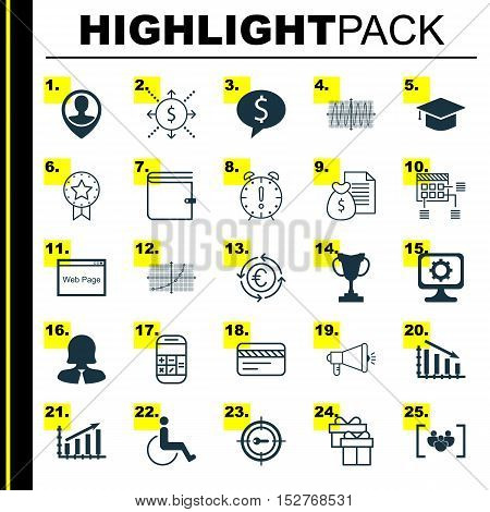 Set Of 25 Universal Editable Icons For Seo, Computer Hardware And School Topics. Includes Icons Such