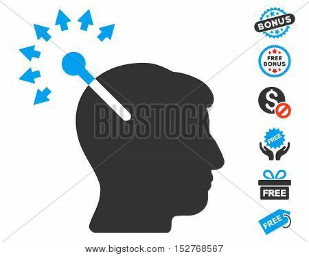 Optical Neural Interface icon with free bonus design elements. Vector illustration style is flat iconic symbols, blue and gray colors, white background.