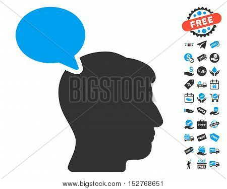 Person Opinion pictograph with free bonus images. Vector illustration style is flat iconic symbols, blue and gray colors, white background.