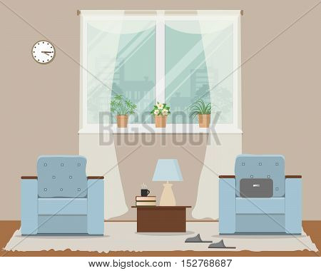 Living room in beige color. There is a two blue armchairs, a window, a table, lamp, slippers and other objects in the picture. Vector flat illustration