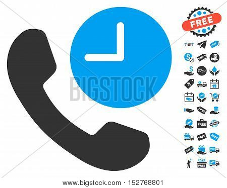 Phone Time icon with free bonus pictograms. Vector illustration style is flat iconic symbols, blue and gray colors, white background.