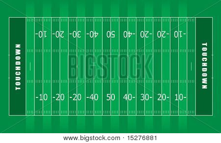 Illustrated american football field with green stripes and white lines