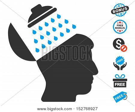 Propaganda Brain Shower icon with free bonus symbols. Vector illustration style is flat iconic symbols, blue and gray colors, white background.