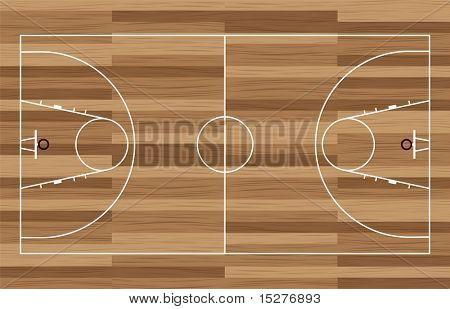 Basketball Gericht Gliederung mit Holzboden des Gymnasiums