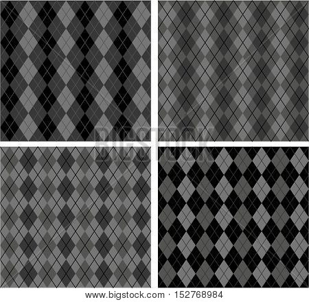 Set of black and grey textures Scottish designs Royalty