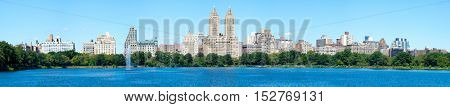 High resolution panorama of the Central Park West skyline and the Jacqueline Kennedy Reservoir in New York City