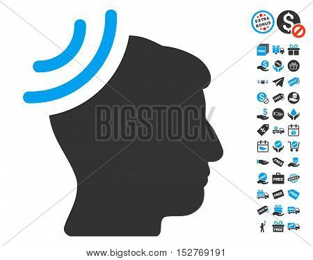 Radio Reception Brain pictograph with free bonus graphic icons. Vector illustration style is flat iconic symbols, blue and gray colors, white background.
