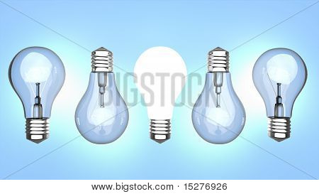 Light Bulbs Over Blue Background