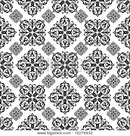 Mono black wallpaper with seamless repeating pattern with white background
