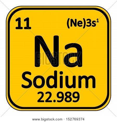 Periodic table element sodium icon on white background. Vector illustration.