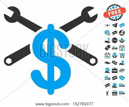 Repair Service Price icon with free bonus images. Vector illustration style is flat iconic symbols, blue and gray colors, white background.