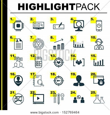 Set Of 25 Universal Editable Icons For Transportation, Computer Hardware And Management Topics. Incl