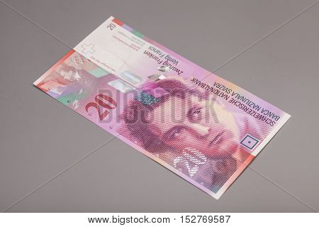 20 Swiss francs currency of switzerland isolated on gray